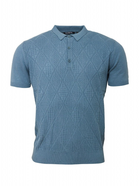 Relco Sky Blue Ribbed Knitted Polo